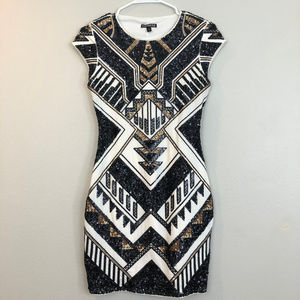 Express Geometric Sequin Sexy Form Fitting Dress